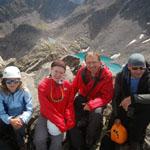 Таня, Даша, Саша и Олег на вершине пика D