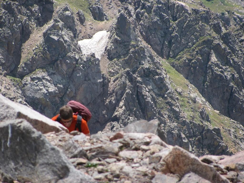 Женя приближается к вершине горы Пауэлл