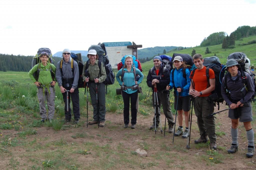 Перед выходом на маршрут: Женя Кувшинова, Алексей, Саша А., Даша, Олег, Таня, Женя Красницкий, Юлик.