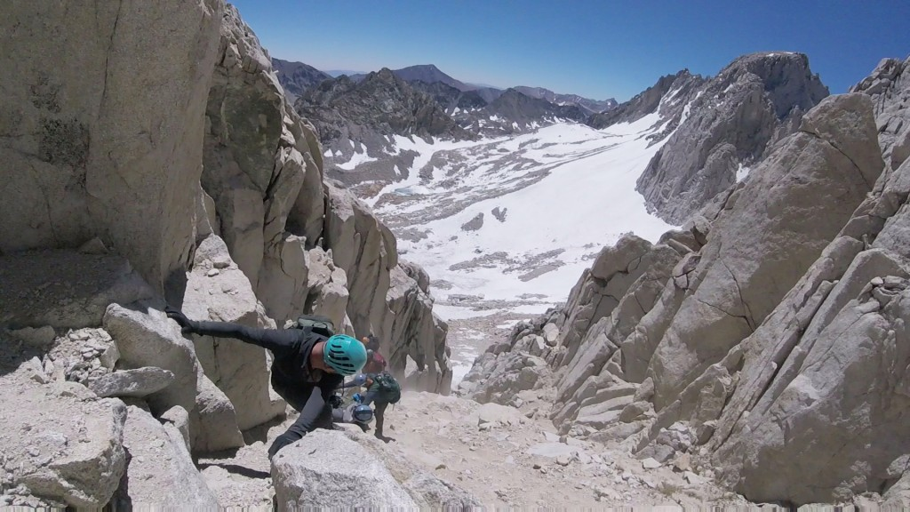 Climbing North-Eastern couloir, mt. Mills.
