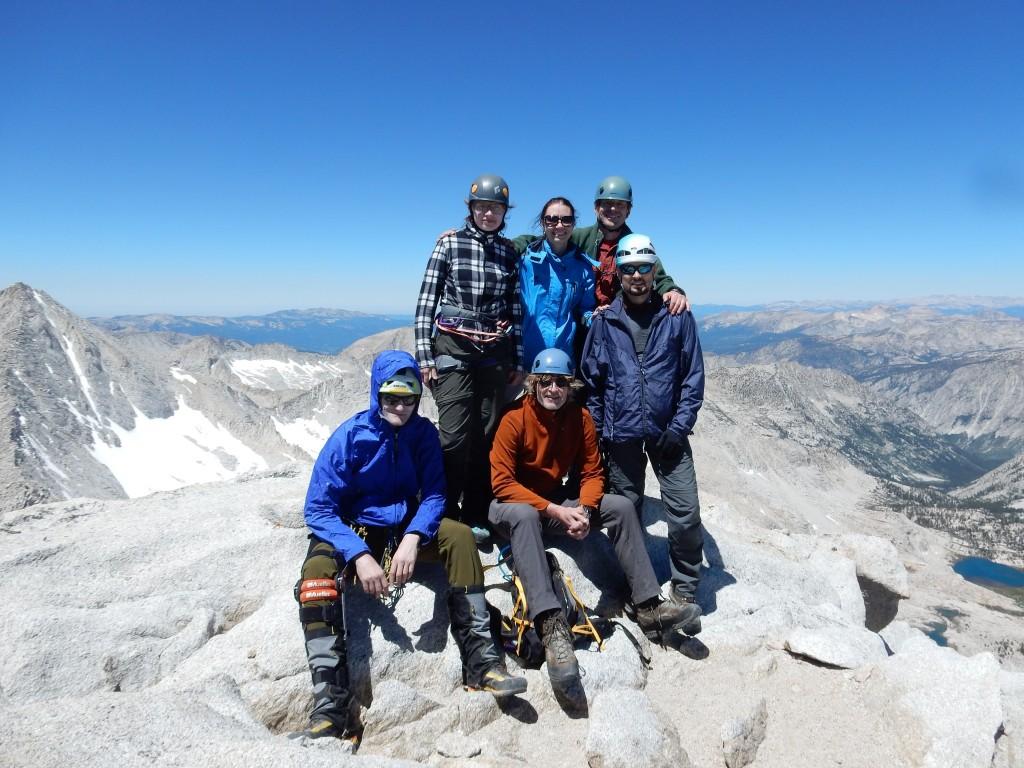 Mt Abbott summit, 13,710 ft. Left to right: Alexei Tumanov, Nadiya Teplyuk, Sergey Los, Yulia Ersin, Alexander Bukreyev, Rodion Turuikhan. Photo credit: Pasha Gilchuk.
